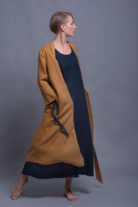 Mustard Linen Wrap Kimono Dress ADAME Washed Linen Cardigan | Etsy