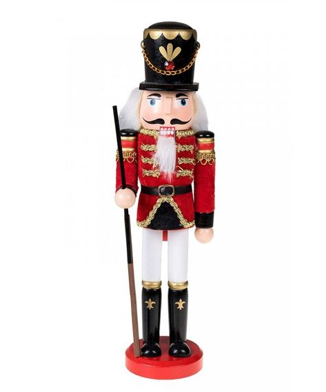 Traditional Wooden Soldier Nutcracker with Rifle Festive Christmas Decor - 12