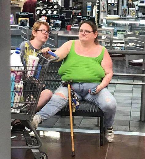 Walmart visitor's fashion is crazy.