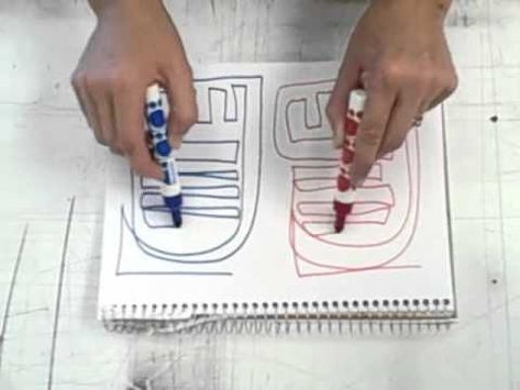Creative Warm Up Activity. Two pens. Two hands. 3 ways. Connecting left and right brain for top notch creativity.