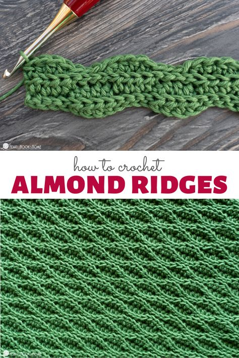 Almond Ridges Crochet Stitch Tutorial - - I love the waves and the ridges of this stitch and the way the light plays. Learn how to create the Almond Ridges crochet stitch with this tutorial! Crochet Stitches For Blankets, Crochet Stitches Free, Tunisian Crochet, Crochet Basics, Crochet Blanket Patterns, Learn To Crochet, Different Crochet Stitches, Embroidery Stitches, Crochet Crafts