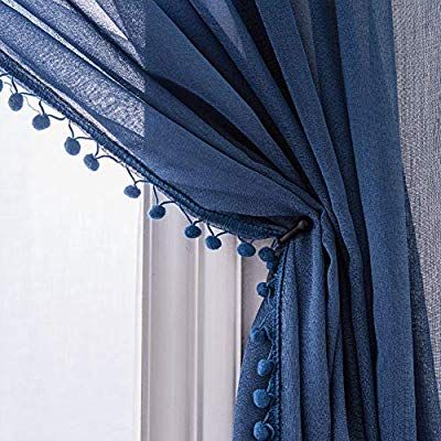 Amazon Com Selectex Linen Look Pom Pom Tasseled Sheer Curtains