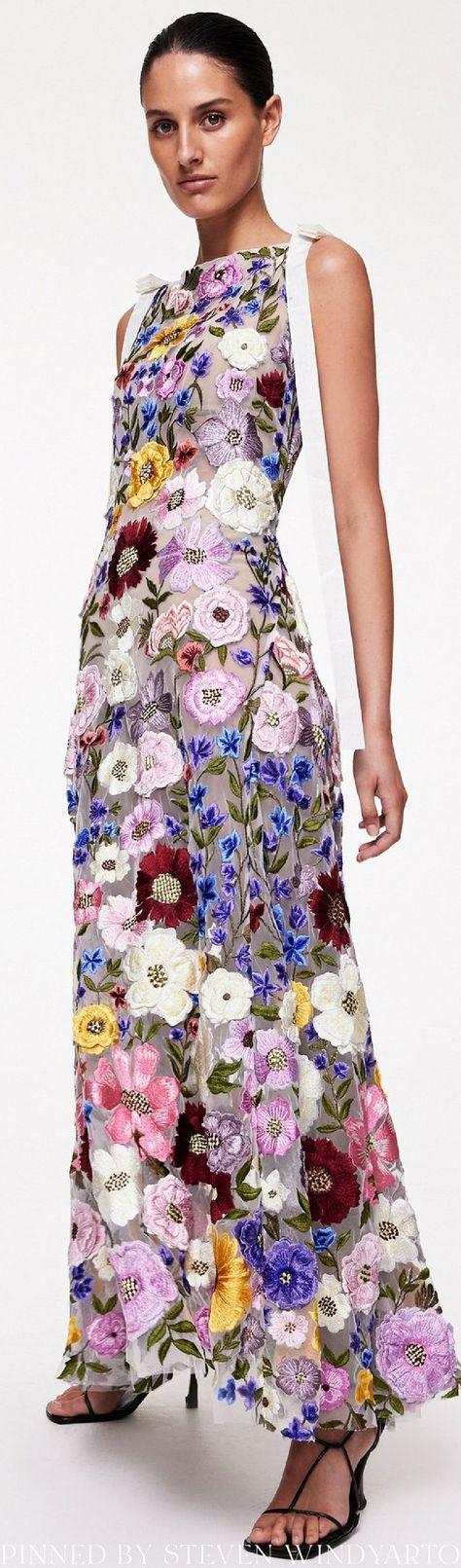 Rachel Gilbert Spring 2022 Lookbook - Nya Embroidered Gown #spring2022 #ss22 #womenswear #rachelgilbert