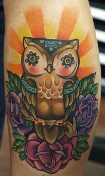 cute owl tattoo with day of the dead style
