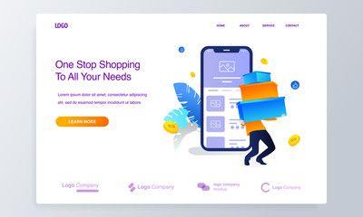 Website Or Landing Page Of Men Making Online Shopping Big Sale With Mobile Application Concept Illustration Spon Mobile Application Landing Page Big Sale