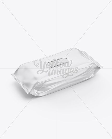 Download Makeup Pouch Mockup High Angle Shot Wet Wipe Plastic Caps