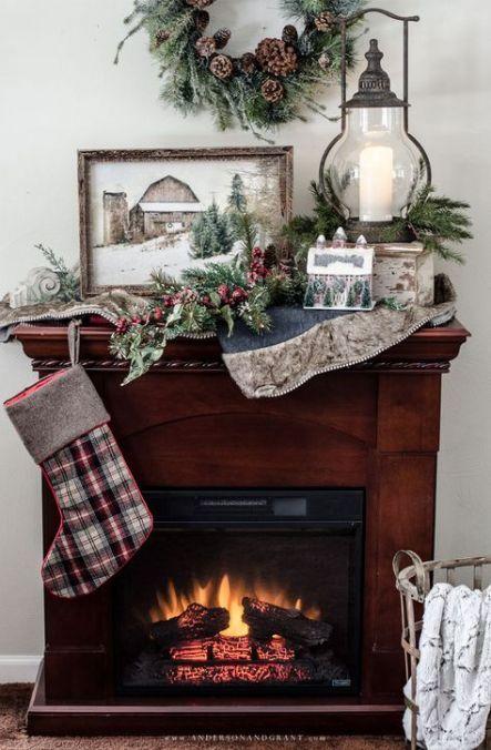 64 Trendy Farmhouse Style Christmas Fireplaces Farmhouse