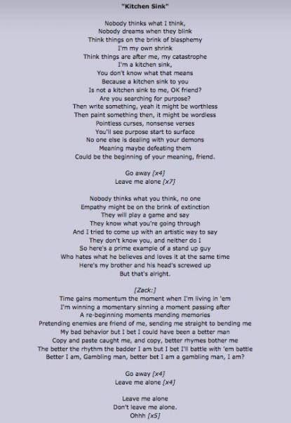 Trendy Kitchen Sink Lyrics Twenty One Pilots Life Ideas Twenty One Pilots Lyrics One Pilots Twenty One Pilots