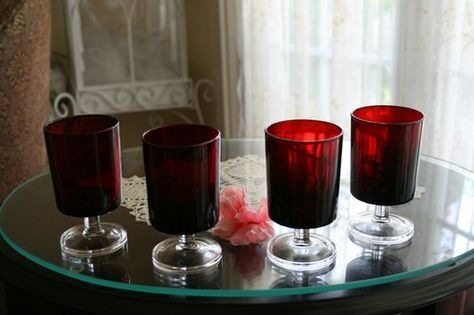 3 VINTAGE LUMINARC FRENCH SHORT STEMMED GLASSES RUBY RED & CLEAR GLASS