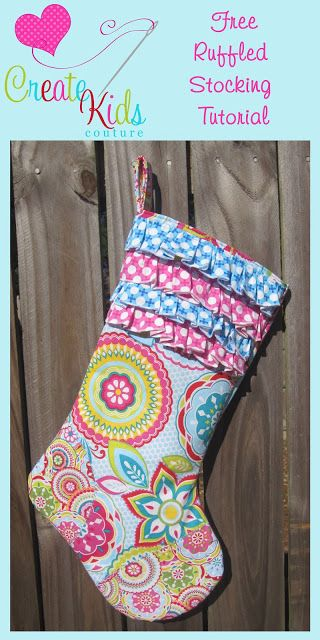 Free ruffled Christmas stocking pattern and tutorial. The ruffles