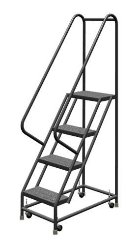 Save On Tri Arc Kdsr104166 4 Step Steel Rolling Industrial And Warehouse Ladder With Handrails And 16 Wide Perforated Tread And Ladder Warehouse Rolling Ladder