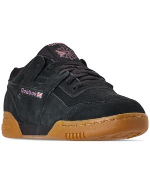 da0df83a9217b5 Reebok Men s Workout Plus Mu Casual Sneakers from Finish Line - BLACK NOBLE  ORCHID GUM 11.5
