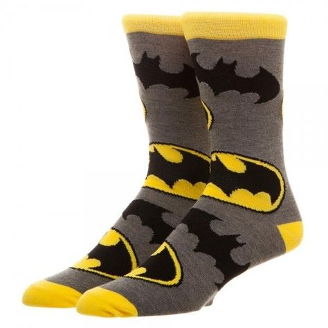 Batman Large All Over Print Men's Crew Socks DC Comics Bioworld Symbols Bat Logo #Bioworld #CrewSocks