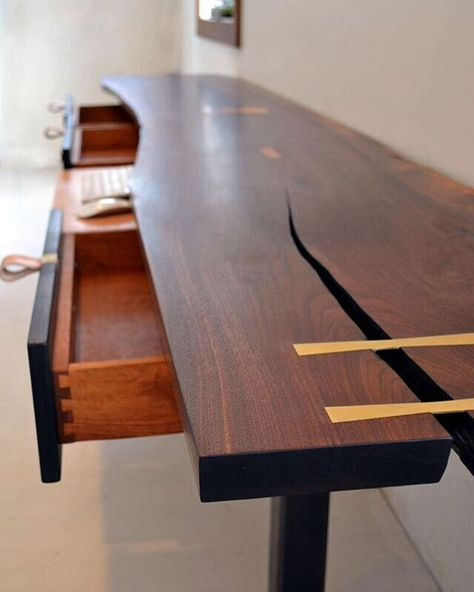 The Kline Desk Is 10ft Long And Features Brass Butterfly Inlays And A Leather Mousepad Keyboard Dr Sideboard Console Table Leather Mouse Pad Credenza Sideboard