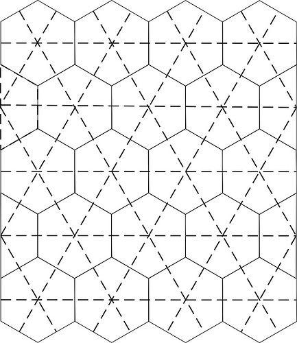 Machine quilting option for hexagon quilt