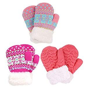 Cosy-TT Childrens Winter Mittens Cute Fleece Gloves Thermal Lined Knitted Gloves Ski Gloves for Girls Christmas Birthday Gifts Warm Windproof Gloves for Winter Children Mittens