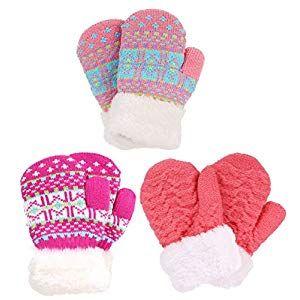 3 Pairs Kids Winter Fleece Gloves Soft Warm Full Finger Gloves for Boys and Girls