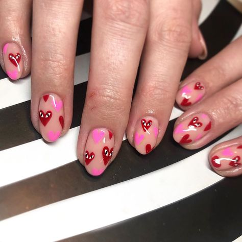 Thinking of a different Valentine's Day? Make a different Valentine's Day nail art? We have prepared 60 valentine nail art styles for you to choose. Nail Design Stiletto, Nail Design Glitter, Aycrlic Nails, Hair And Nails, Valentine's Day Nail Designs, Heart Nail Designs, Valentine Nail Art, Tribal Nails, Heart Nails