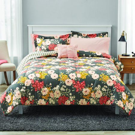 Mainstays Grey Floral Bed In A Bag Bedding Full Walmart Com