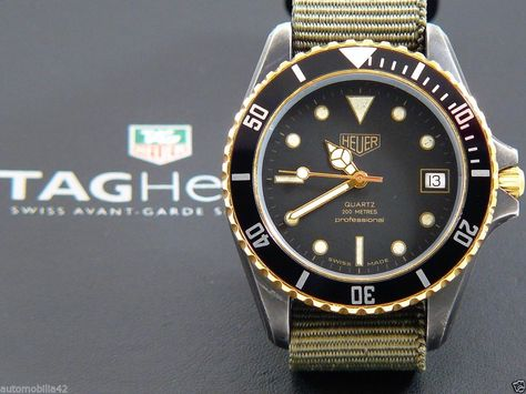 (Pre-TAG) Heuer 1000 Submariner Man Black Coral on a military green Nato 980.029