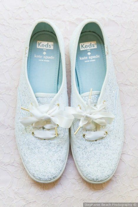 Blue wedding sneakers with sparkles and