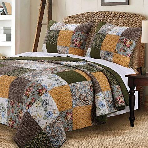 3 Piece Reversible Quilted Printed Bedspread Coverlet Gold Flower