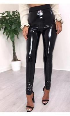 Hosen Leggings Damen Frauen Hohe Taille PU-Leder Lange Slim Fit Hose Lackleder