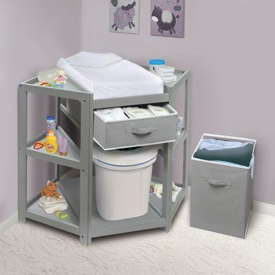 Badger Basket Diaper Corner Baby Changing Table with Pad and 1 Basket with Hamper