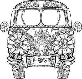Love It Zentangle Bulli Vw T1 Ausmalbilder Ausmalen Mandala Ausmalen