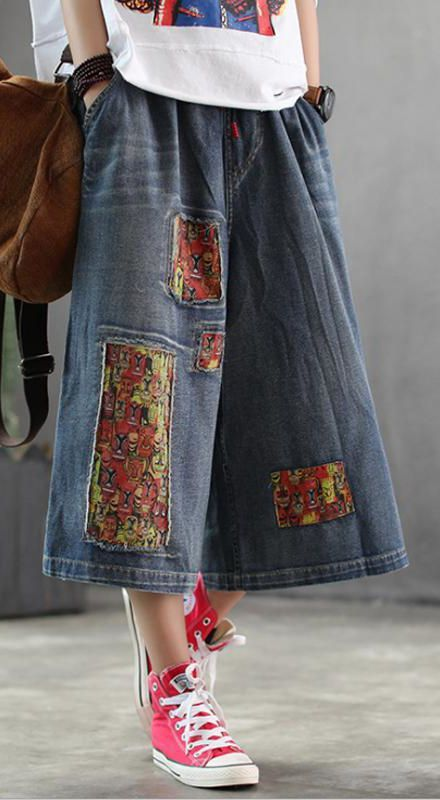 Women Patchwork Burr Spring Vintage Wide Leg PantsThis dress is made of cotton or linen fabric, soft and breathy. Makes you look slimmer and matches easlily. 70s Fashion, Fashion Outfits, Fashion Skirts, Grunge Fashion, London Fashion, Fashion Boots, Winter Fashion, Fashion Tips, Addition Elle