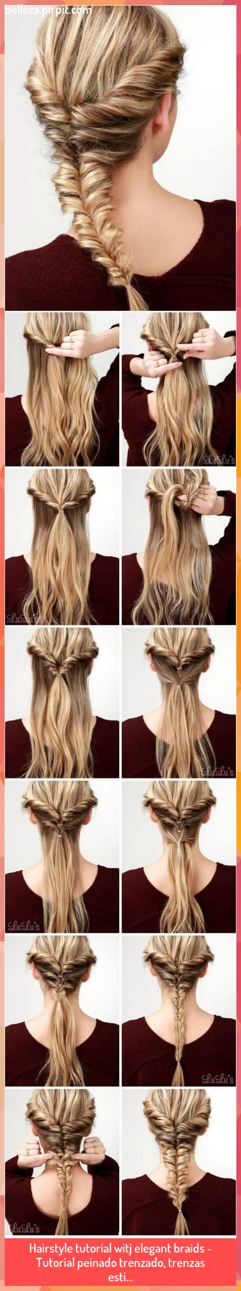 Hairstyle tutorial witj elegant braids - Tutorial peinado trenzado, trenzas esti... #Braids #Elegant #esti #Hairstyle #Peinado #trenzado #trenzas #TUTORIAL #witj