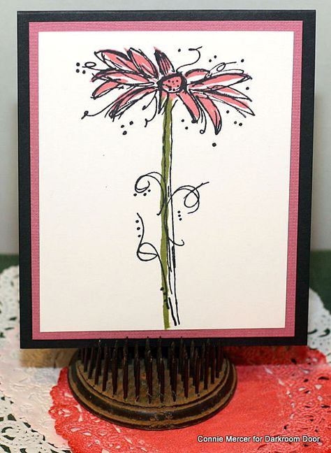 Two step stamping with Carved Flowers and Fine Flowers Rubber Stamps by Darkroom Door. Cards by Connie Mercer.