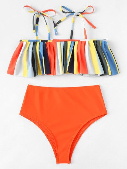 Colorblock Flounce Bikini Set Shein Sheinside High Waisted