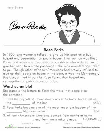Rosa Parks Historical Heroes Worksheet Education Com Black History Month Worksheets History Worksheets Historical Heroes History worksheets for 2nd grade