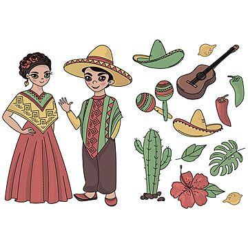 Mexico Dibujos Animados Viaje Pais Clip Art Color Vector Ilustraciones Para Scrapbook Babybook Y Tarjetas De Impresion Digital Y Albumes De Fotos Para Ninos Me Ilustraciones Dibujos Dibujos De La Independencia