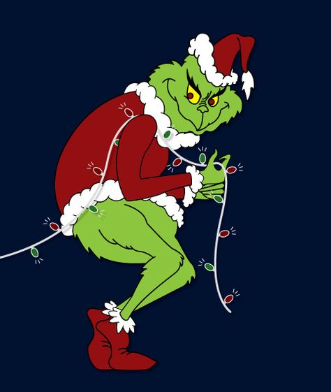 Dt 138 Grinch Stealing Christmas Lights Pattern Grinch Christmas Decorations Grinch Christmas Christmas Paintings