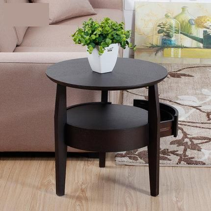 Coffee Table Small Round Wooden, Small Round Side Table With Drawer