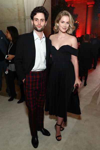 Penn Badgley and Elizabeth Lail attend the 2018 A+E Upfront in NYC.