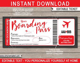 Diy Printable Editable Boarding Pass Surprise Fake Airline Ticket Trip Gift Print At Home Airplane Flight Destination Plane Download Pink In 2021 Surprise Trip Reveal Boarding Pass Template Fake Plane Ticket