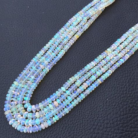15 Inch Long, AAA Quality, ETHIOPIAN Opal Smooth Rondelles,4-4.5mm size,Superb Promotional Price Off