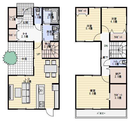 30坪中庭のある間取り 狭小住宅プラン 間取り 中庭 間取り