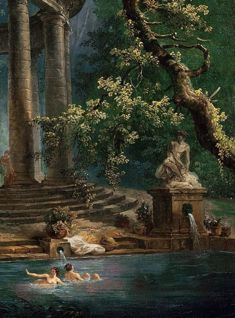 The Bathing Pool, Hubert Robert  Art Bizarre, Rennaissance Art, Renaissance Paintings, Nature Aesthetic, Art Et Illustration, Classical Art, Art Abstrait, Old Art, Pretty Art