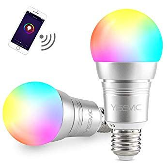 Yissvic Smart Bombilla 2 Pcs Wifi Bombilla Led Inteligente E27 11w Ajustable Multicolor Funciona Con Alexa Echo Google Home Y Ift Bombillas Bombillas Led Led