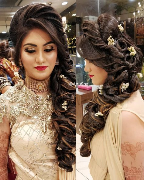 Hairstyle On Gown Indian Wedding In 2020 Pakistani Bridal Makeup Hairstyles Engagement Hairstyles Bridal Hair Buns