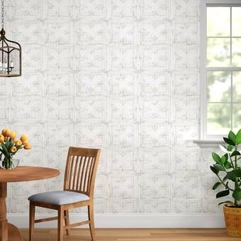 Liljenquist 31 1 X 31 1 Peel And Stick Vinyl Wall Paneling In White In 2020 Tin Tiles Wallpaper Roll Brick Wallpaper Roll
