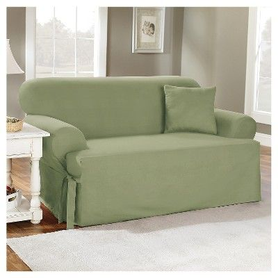 Pleasant Cotton Duck Tcushion Loveseat Slipcover Sage Green Sure Dailytribune Chair Design For Home Dailytribuneorg