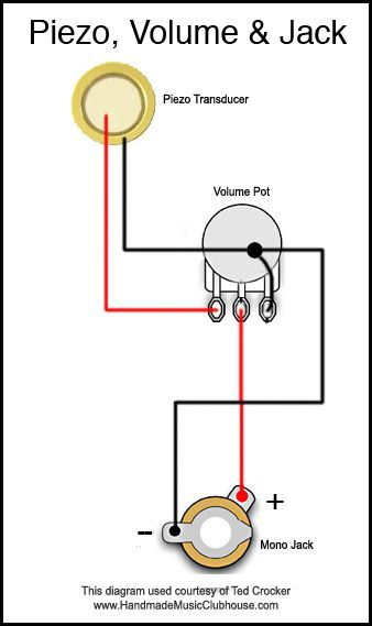 Piezo Diagram With Volume Pot And Jack Box Guitar Cigar Box Guitar Cigar Box Guitar Plans