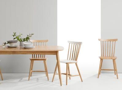 2 x Deauville Esszimmerstühle, Weiß und Eiche