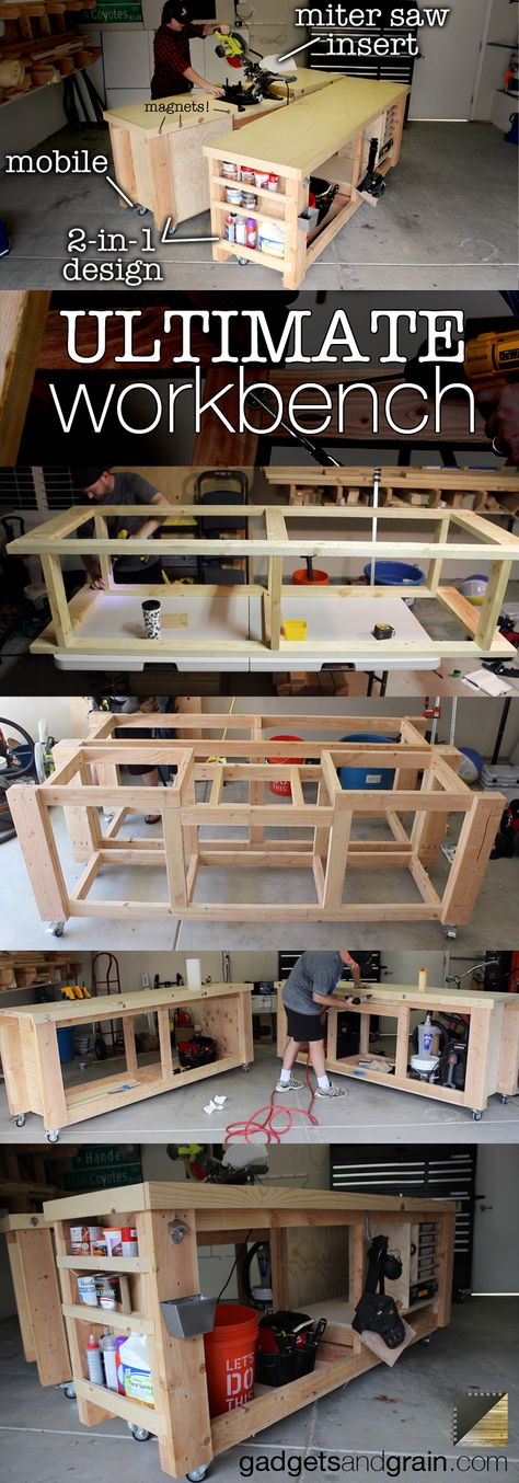DIY Mobile & Modular Workbench To Bring Your Shop to the Next Level – Gadgets ... -  DIY Mobile & Modular Workbench To Bring Your Shop to the Next Level – Gadgets and Grain  - #Bring #DIY #Gadgets #Level #Mobile #Modular #Shop #TableSaw #WoodworkingBench #WoodworkingPlans #WoodworkingProjects #WoodworkingShop #WoodworkingTools #Workbench