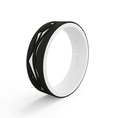 NEW Qalo Men/'s Black Red Pinstripe Silicone Wedding Ring Size 9 10 11 12